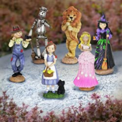 Exhart Oz Land Figurine Garden Statues, Resin, Set of 6, Features Dorothy with Toto, Scarecrow, Tin Man, Cowardly Lion, Wicked Witch of The West, and Glinda The Good Witch of The South