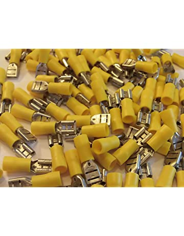 for 6mm bolt or screw 6.4 yellow fork terminal crimp connector 25 50 100 pack