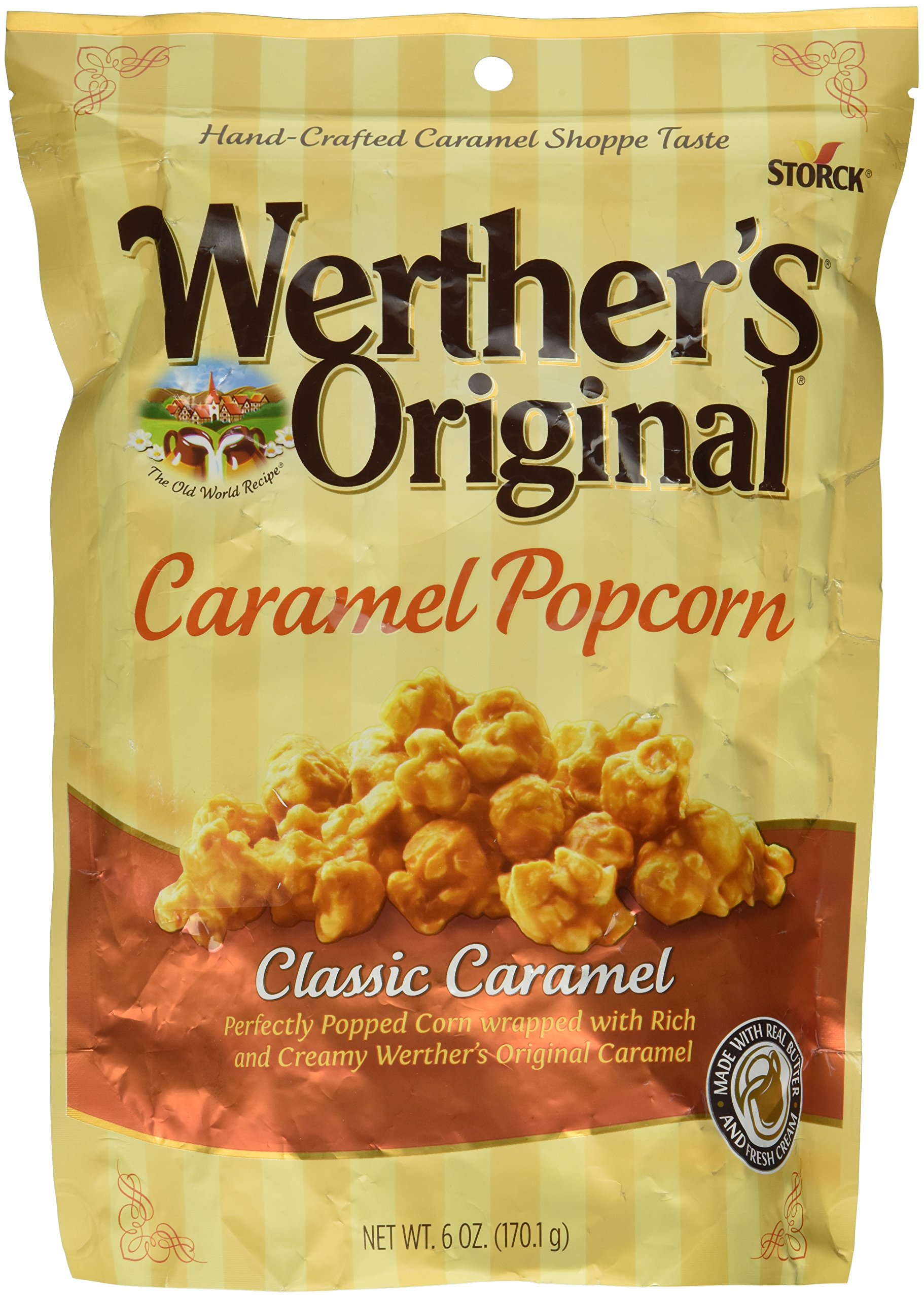 Werther's, Original, Caramel Popcorn, Classic Caramel, 6 Ounce Bag (Pack of 3) by Werther's