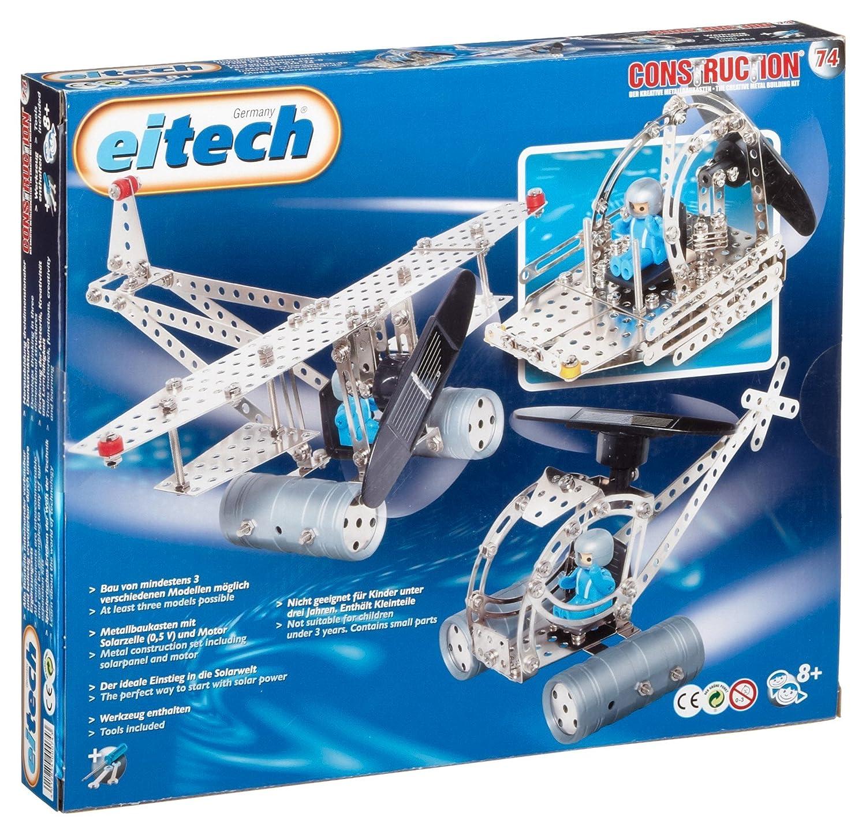 EITECH   00074 Metallbaukasten Helikopter mit solarbetriebenem Motor, 300-teilig C74 Konstruktionsspielzeug / Modellkästen Konstruktionsspielzeug aus Metall / Modellkästen