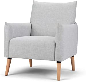 Simpli Home Keenan 28 inch Wide Mid Century Modern Accent Chair in Pale Grey Linen Look Fabric