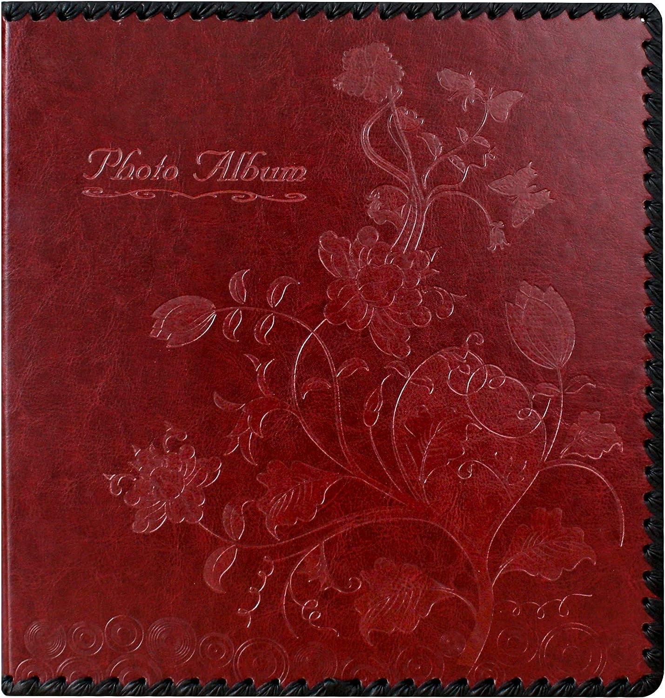 Beautyus Photo Album Book, Family Album, Leather Cover, Holds 3x5, 4x6, 5x7, 6x8, 8x10 Photos (Wine Red)