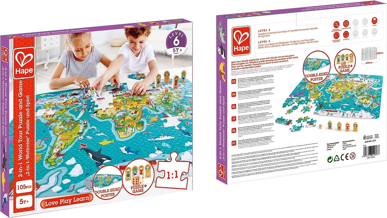 Hape- Puzzle la vuelta al mundo 2 en 1, Color carbón (E1626 ...