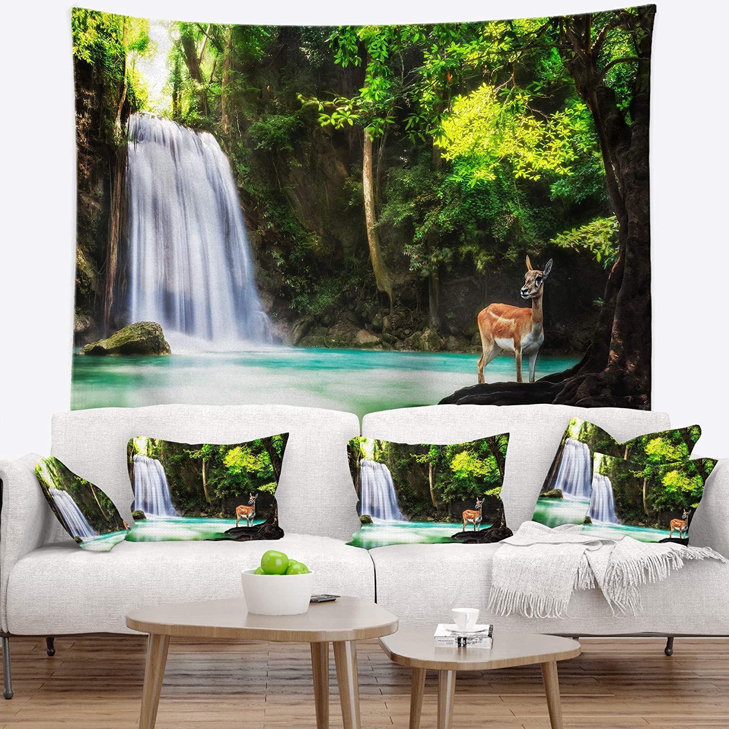 Tapestries Home Kitchen Created On Lightweight Polyester Fabric 80 In Designart Tap6431 80 68 Erawan Waterfall Landscape Photo Blanket Décor Art For Home And Office Wall Tapestry X Large X 68 In