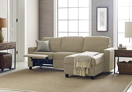 Beau Serta Palisades Reclining Sectional With Right Storage Chaise   Dusk Beige