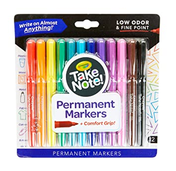 Crayola Take Note Permanent Marker, Fine Pt., Assorted Colors, School Supplies, Stocking Stuffer, 12Count