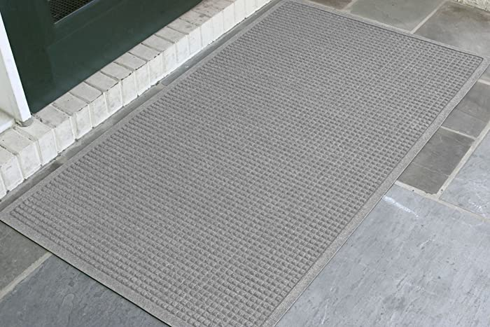 WaterHog Fashion Commercial-Grade Entrance Mat, Indoor/Outdoor Charcoal Floor Mat 5' Length x 3' Width, Medium Grey by M+A Matting