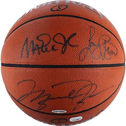 best loved 0c239 d151a Larry Bird, Michael Jordan, Magic Johnson Triple Autographed Spalding Pro  Basketball - Fanatics Authentic