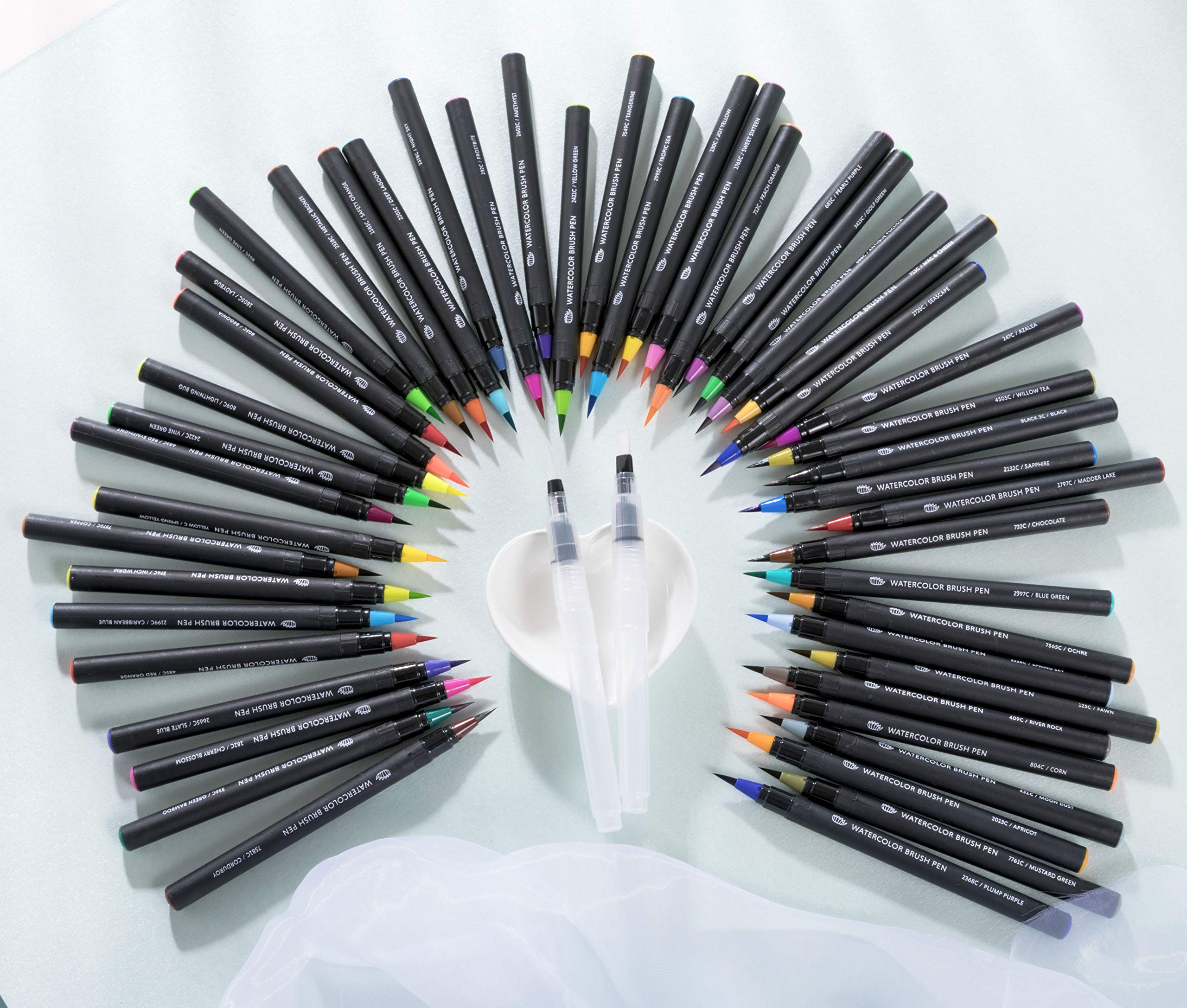 Gift Box : 48 Premium Watercolor Brush Pens, Highly Blendable, No Streaks, Water Color Markers, Unbelievable Value, Water Brush Pen, for Beginner to Professional Artist by Dab and Dot Markers (Image #7)