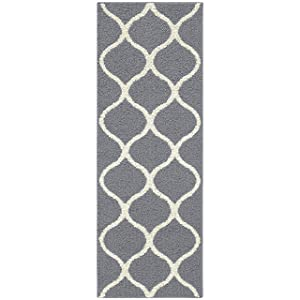 Maples Rugs Runner Rug - Rebecca 1'9 x 5' Non Skid Hallway Carpet Entry Rugs Runners [Made in USA] for Kitchen and Entryway, Grey/White