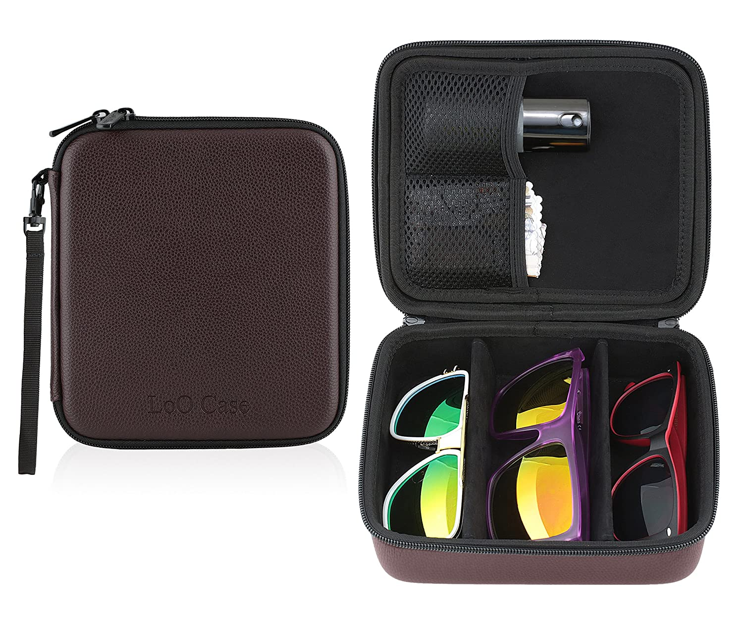 Eyeglass Sunglass Glasses Zippered Travel Storage Organizer 3 Compartment Case