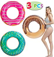 "JOYIN Donut Pool Float with Glitters 32.5"" (3 Pack), Funny Pool Tube Toys for Swimming Pool Party and Donut Party Decoration"