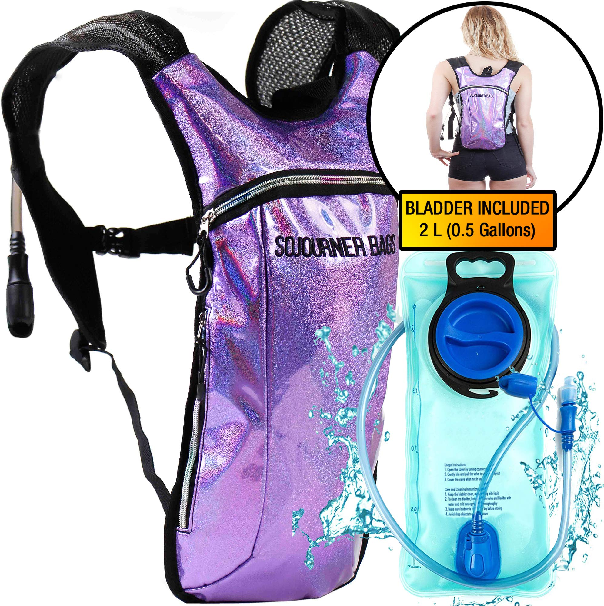 Sojourner Hydration Pack Backpack - 2L Water Bladder Included for Festivals, Raves, Hiking, Biking, Climbing, Running and More (Glitter - Purple)