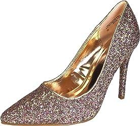 a2df485258d Anne Michelle Women s Pointy-Toe Dress Heel Plain Pump in Glitter