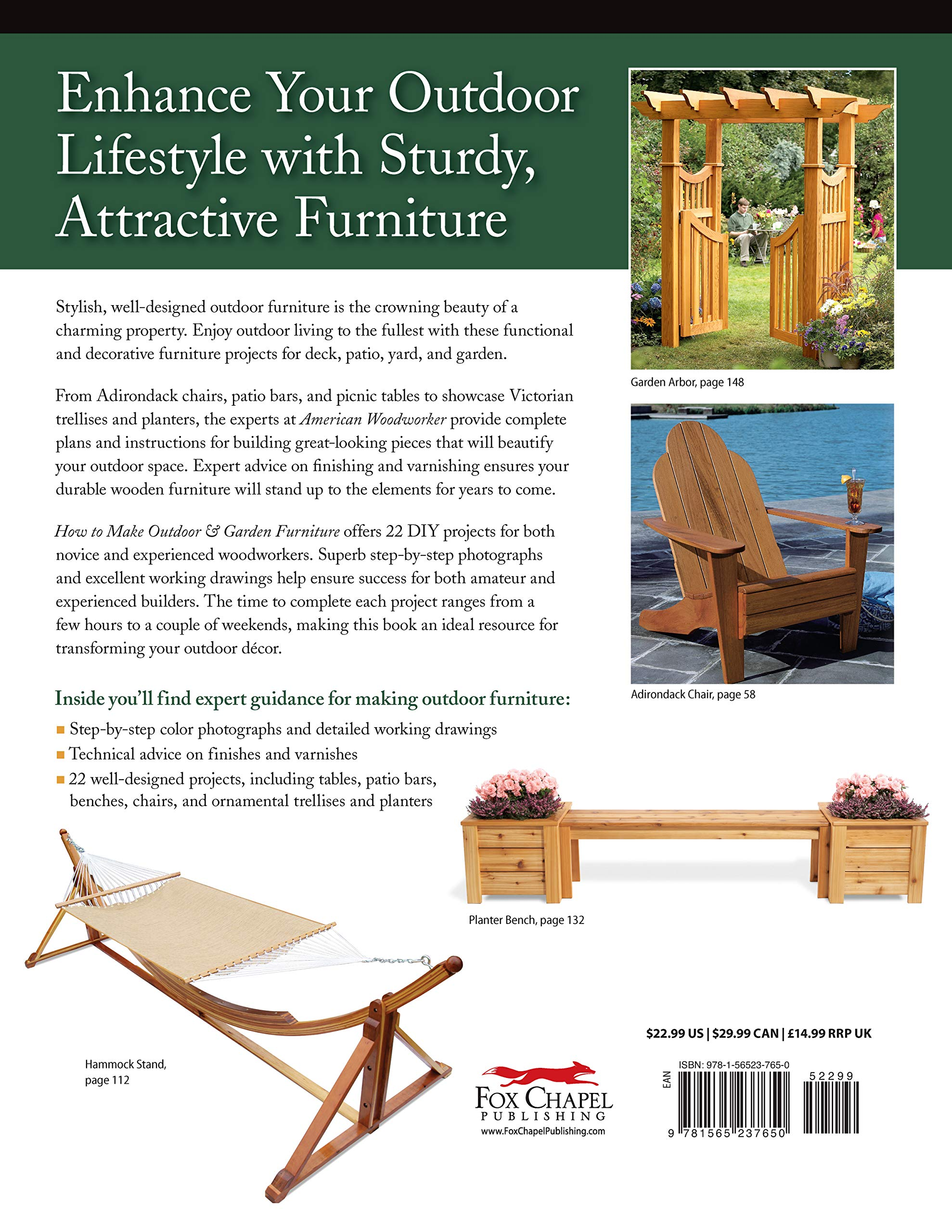 How to Make Outdoor & Garden Furniture: Instructions for Tables, Chairs, Planters, Trellises & More from the Experts at American Woodworker American Woodworker Paperback: Amazon.es: Johnson, Randy: Libros en idiomas extranjeros