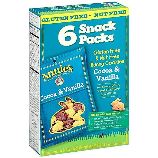 Annie's Gluten Free Cookies, Peanut Free, Cocoa & Vanilla Bunny Cookie Snack Packs, 6 oz Box