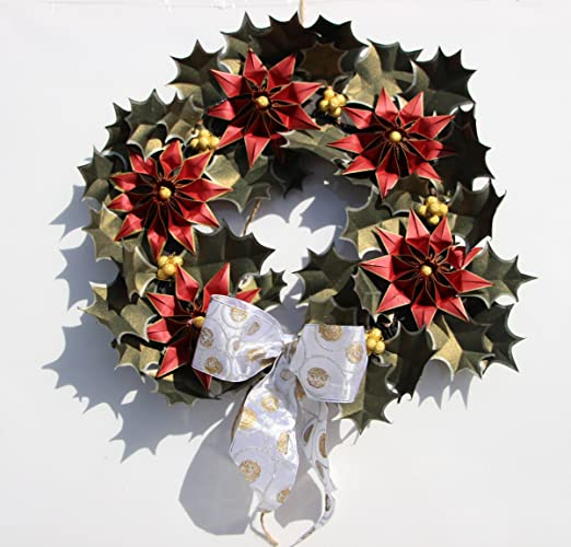 Christmas Wreath Origami Poinsettia Flower Fairy Light Paper