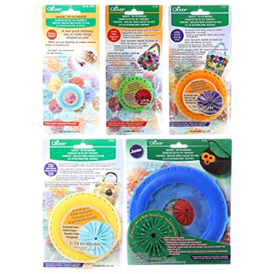 "Bundle of Five (5) Quick Yo-Yo Makers: Extra Small (makes 3/4"" yo-yos), Small (makes 1.25"" yo-yos), Large (makes 1.75"" yo-yos), Extra Large (makes 2-3/8"" yo-yos), and Jumbo (makes 3.5"" yo-yos): Arts, Crafts & Sewing"