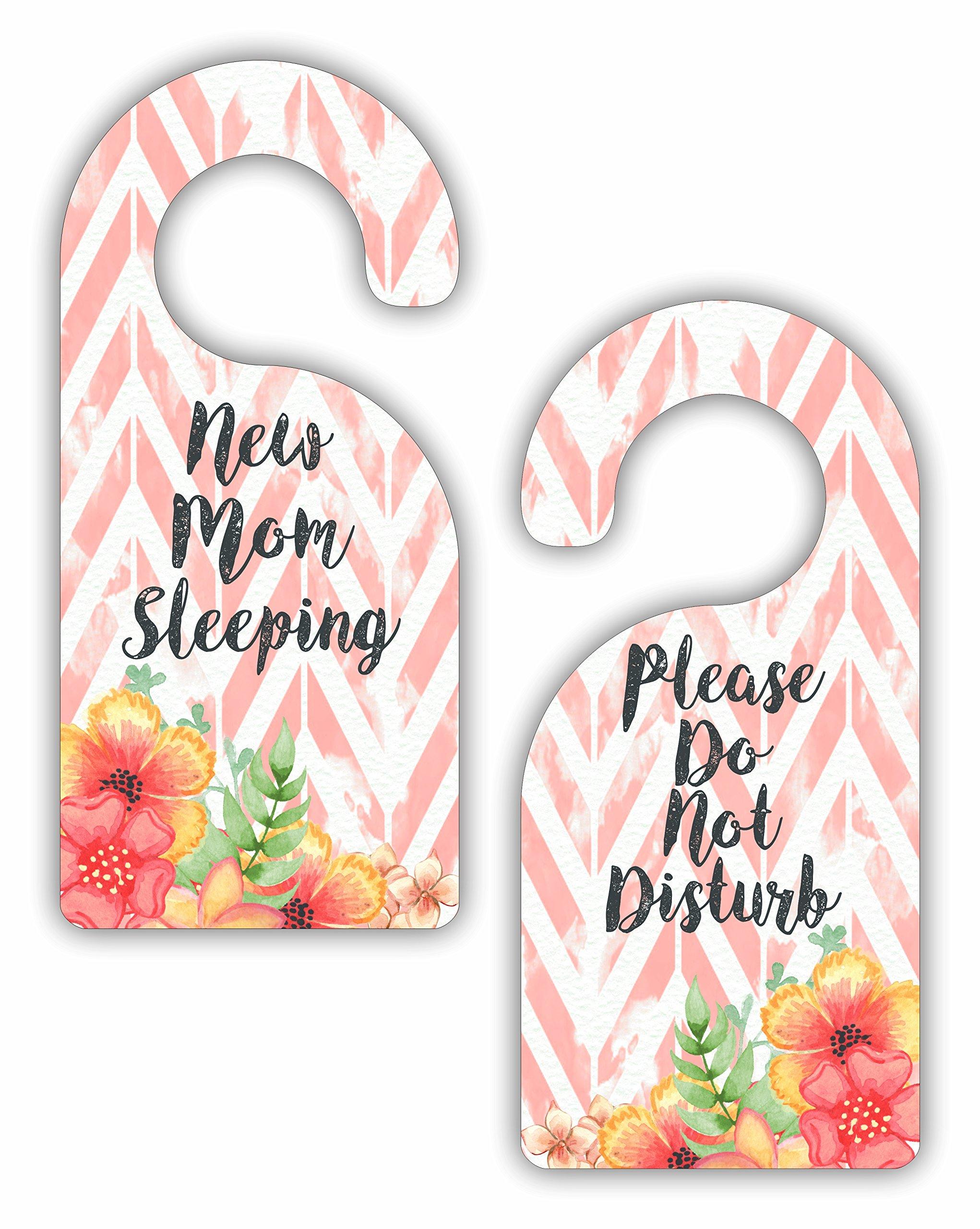 New Mom Sleeping - Please Do Not Disturb - Bedroom Door Sign Hanger - Double Sided - Hard Plastic - Glossy Finish