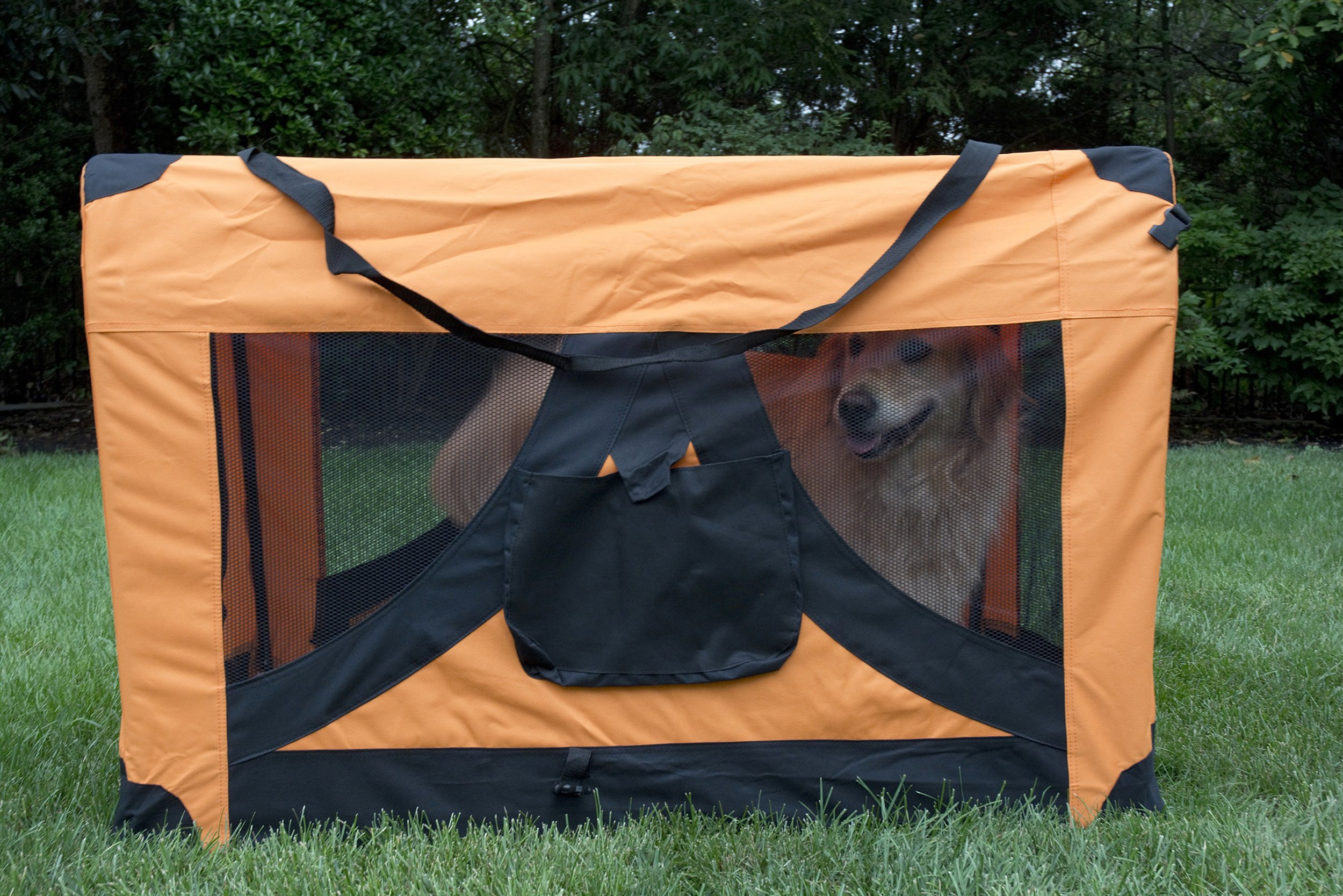 Iconic Pet Versatile Pet Soft Crate with Fleece Mat, Coffee/Khaki, Medium