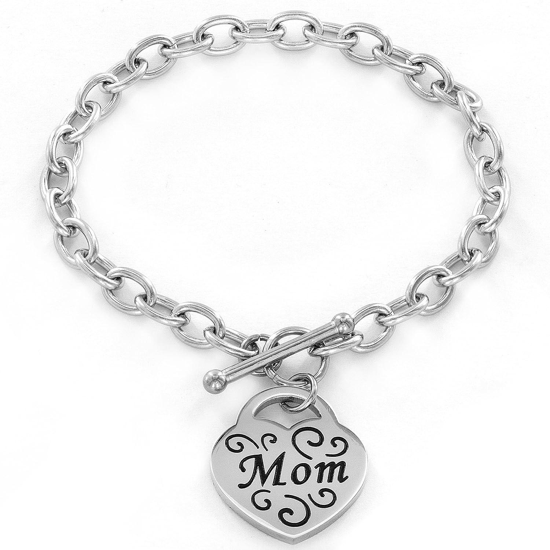Amazon Stainless Steel Engraved Mom Heart Charm Bracelet 7 5