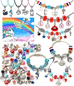 Bracelet Making Craft Kit for Girls,Jewelry Making Supplies Beads Charms Bracelets for DIY Craft Gifts Toys for Teen Girls Age 4 5 6 7 8 9 10 12