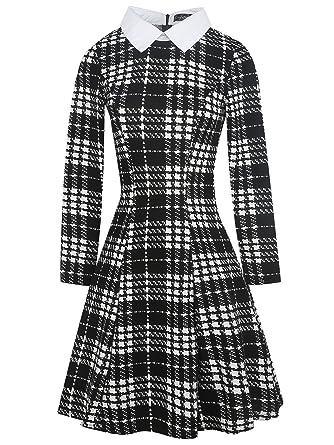 14baab88bea883 oxiuly Women's Long Sleeve Classic Turn Down Collar Black Plaid Casual  A-Line Dress OX272