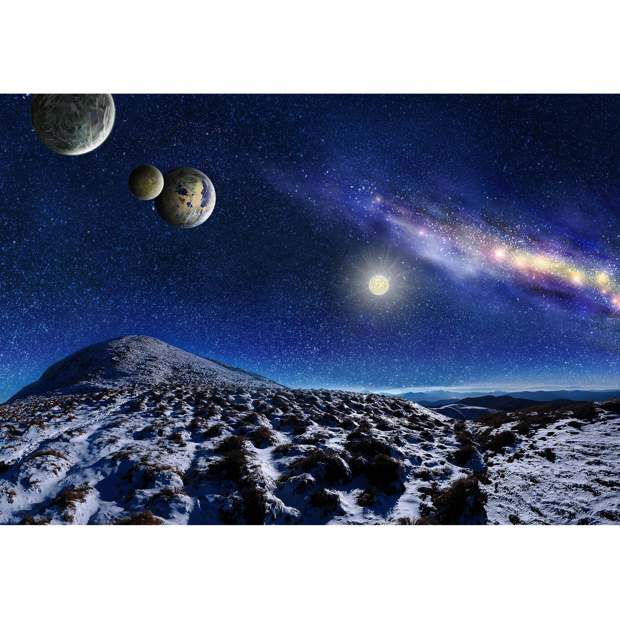 wall26 - Night Space Landscape. Milky Way Galaxy and Planets Over Mountains - Removable Wall Mural | Self-Adhesive Large Wallpaper - 100x144 inches by wall26 (Image #2)