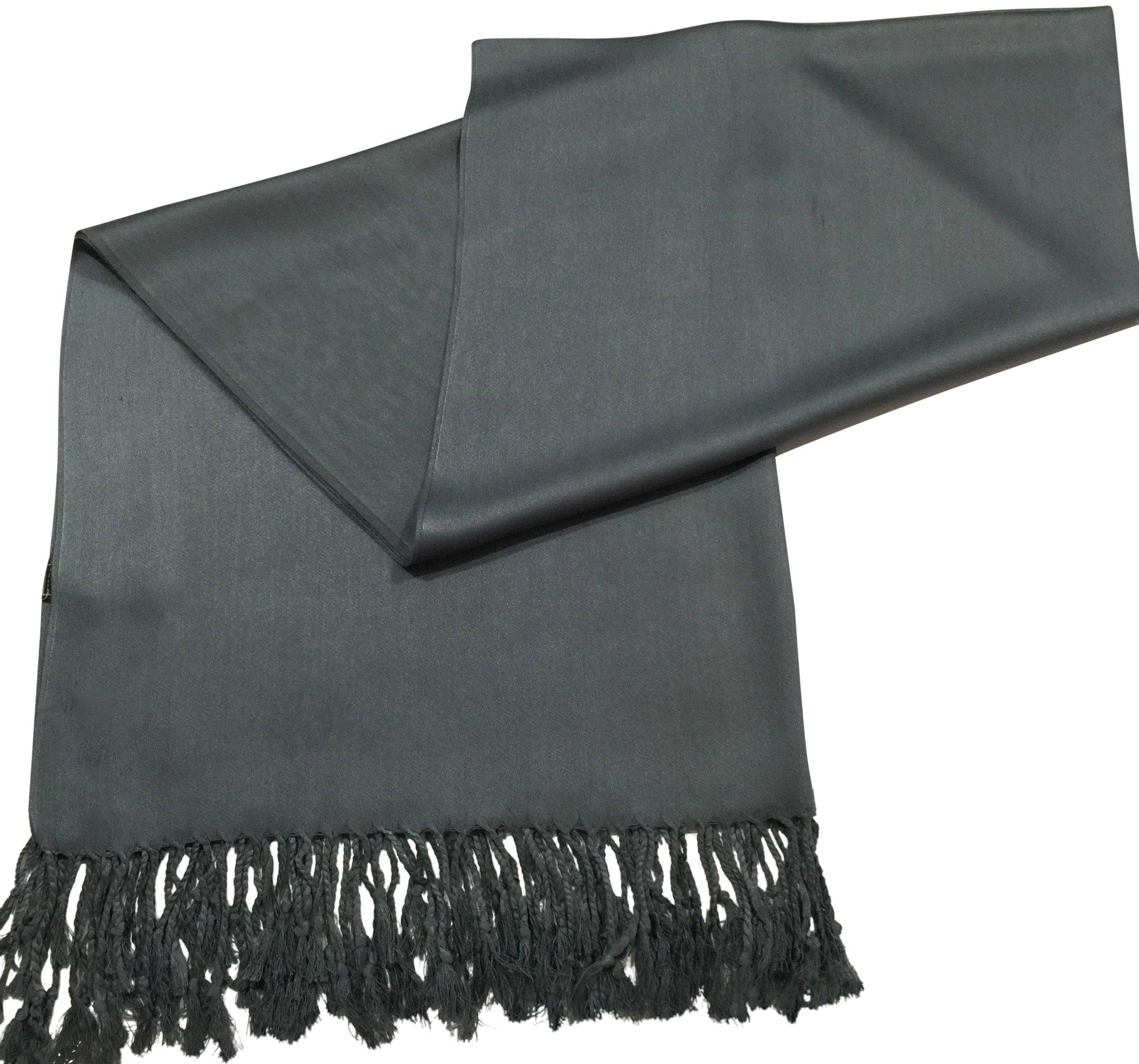 CJ Apparel Grey Solid Color Design Shawl Scarf Wrap Stole Pashmina SecondsNEW