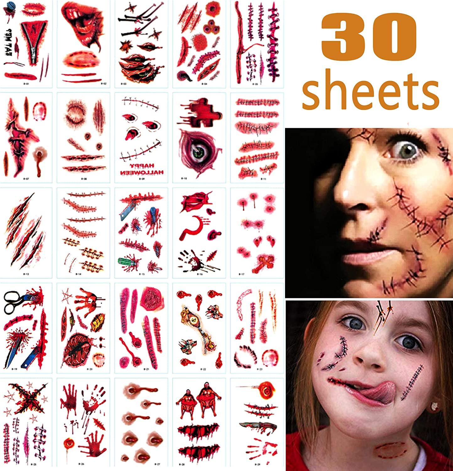 Halloween Face Fake Scar Tattoos,30 Sheet Halloween Zombie Makeup Kit Decoration for Kids,Vampire Bite Wounds Cuts Waterproof Fake Blood Tattoo for Party Supplies Cosplay Props