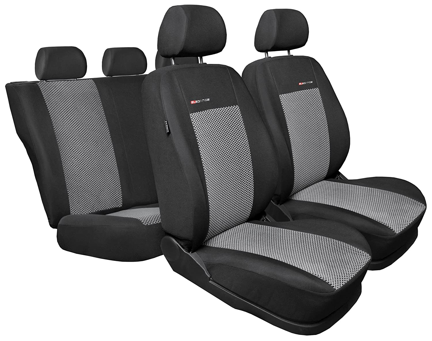 07- SKODA FABIA ELEGANCE ALPHA STYLE FRONT SEAT COVERS IN BLACK /& GREY 1+1
