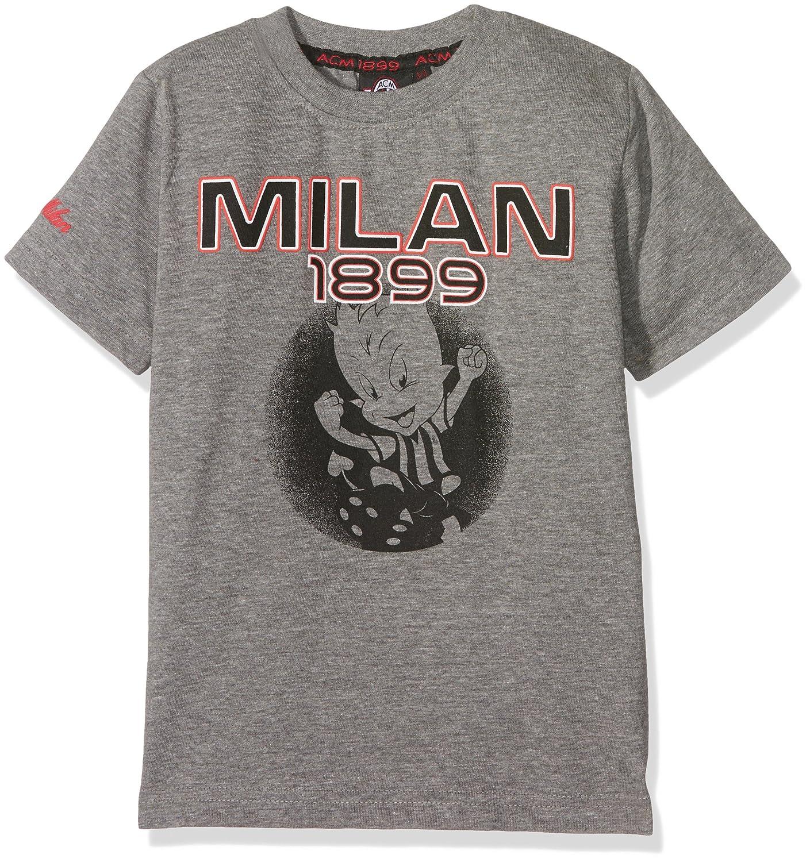 Milan T-Shirt Ragazzo Grigio Melange Scuro con Stampa sul Petto e su Manica-Originale Maglietta Bambino