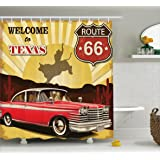 Ambesonne Vintage Decor Shower Curtain, Welcome to Texas Signboard Poster with Cadillac Art Car Cowboys Town Rodeo Decor, Fabric Bathroom Decor Set with Hooks, 70 Inches, Multi