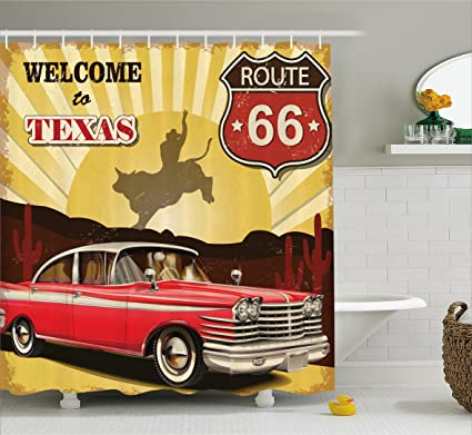 Ambesonne Vintage Decor Shower Curtain Welcome To Texas Signboard Poster With Cadillac Art Car Cowboys