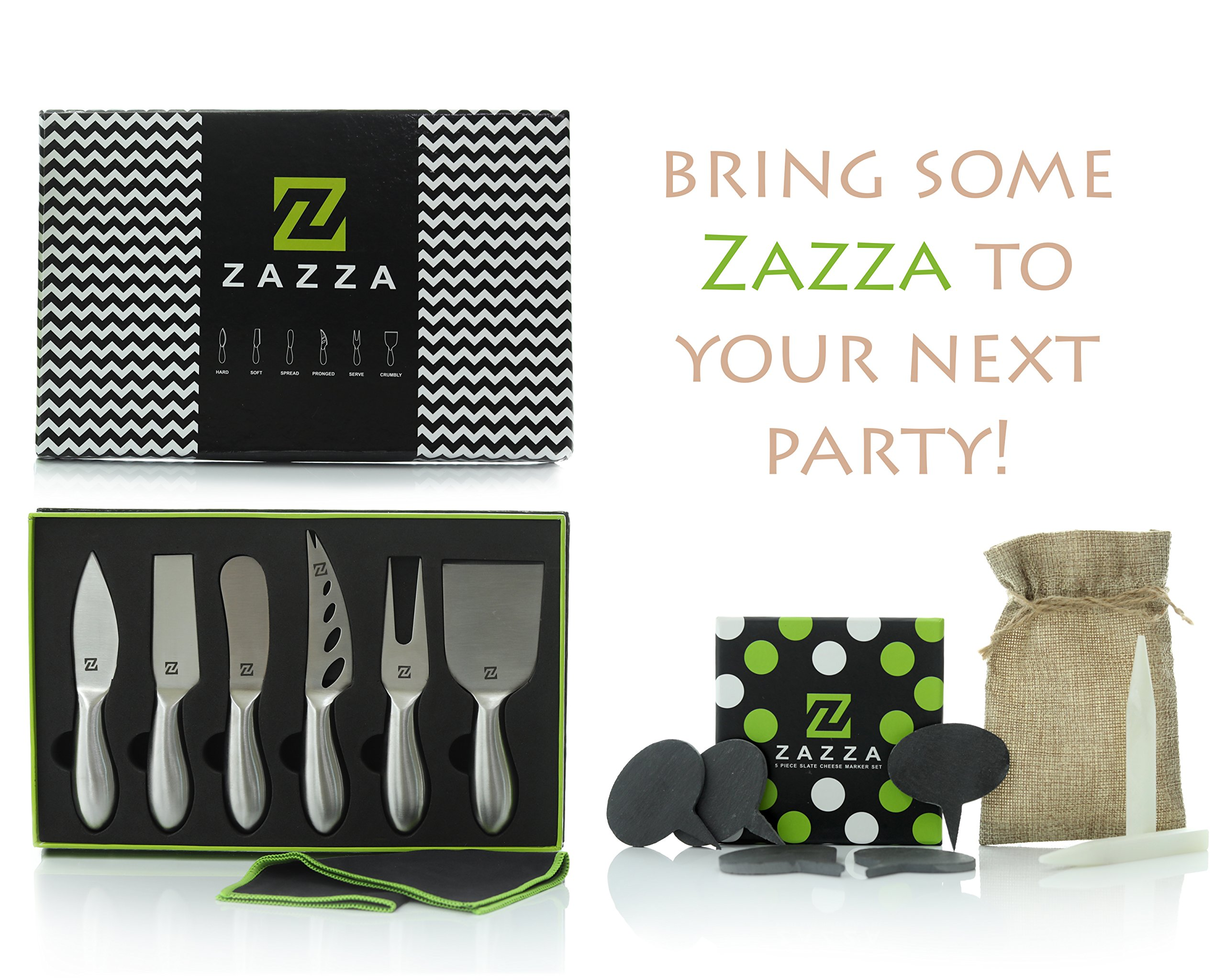Zazza Cheese Knife Set with Slate Cheese Markers, Chalk and Polishing Cloth
