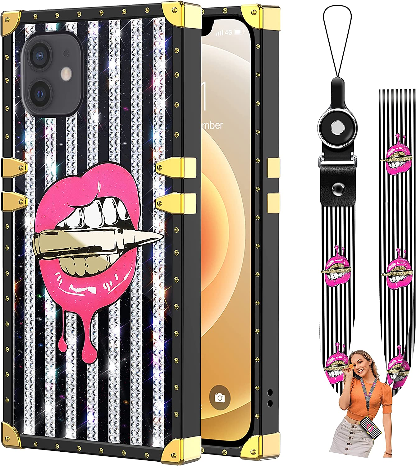 Bonoma Compatible iPhone 12/12 Pro Case 6.1 in, Pink Lips Bite Bullet Luxury Glitter Diamond Plating Square Case with Lanyard Strap Soft TPU and Hard PC Protective Cover Case