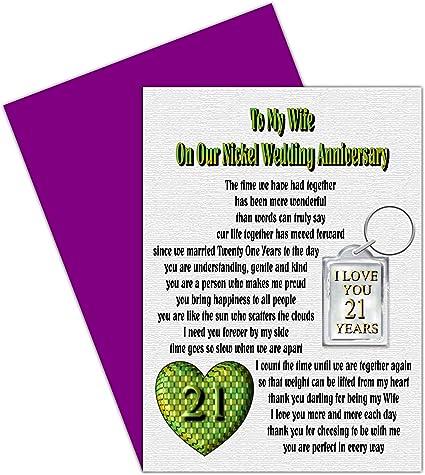 Anniversario Matrimonio 21 Anni.Moglie Xxi Anniversario Di Matrimonio Con Rimovibile Portachiavi