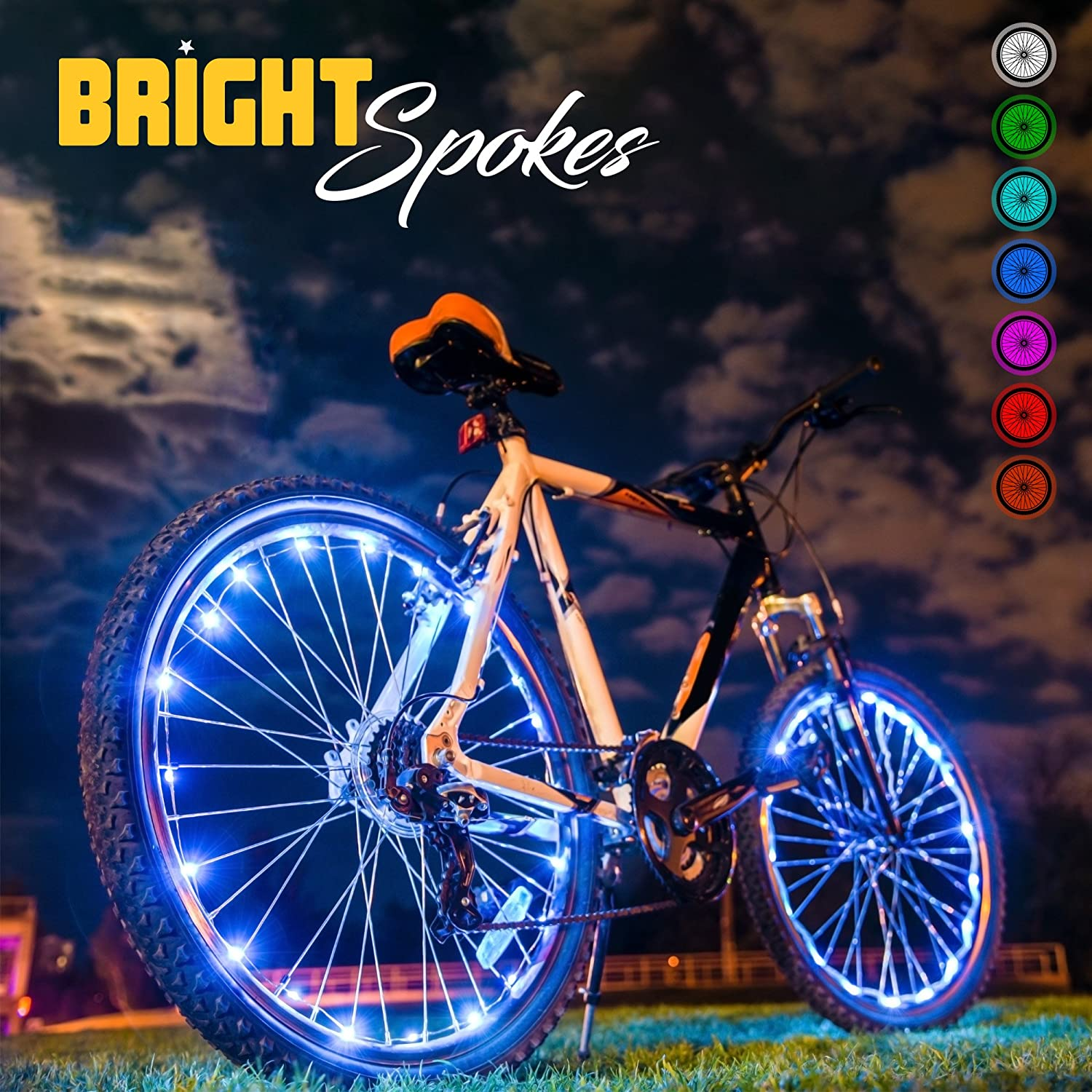 Bright Spokes Premium LED Bike Wheel Lights – 7 Colors in 1 – USB Rechargeable Battery – Strong Silicone Tube Cover – 18 Modes – For all ages – 1 Tire