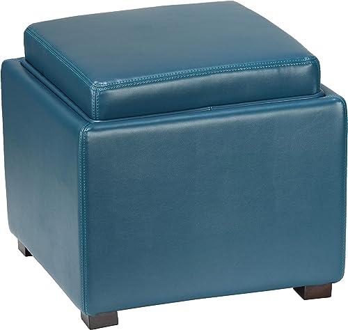 Cortesi Home Mavi Storage Tray Ottoman in Bonded Leather 17.5 Deep Turquoise Blue
