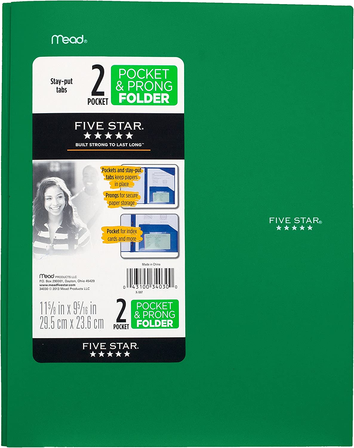 Five Star 2 Pocket Folders with Prong Fasteners, Stay-Put Folder, Folders with Pockets, Plastic, Black, Red, Green, Blue, 4 Pack (38064) : Office Products