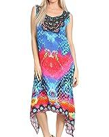 Sakkas Seneca Long Scoop Neck Printed Lightweight Beach Embellished Dress Coverup