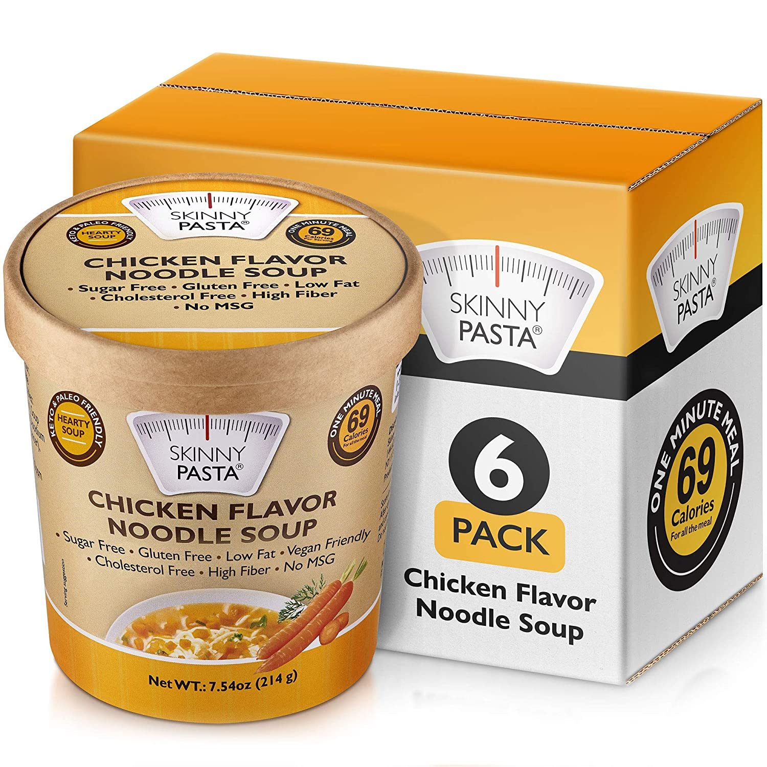 Skinny Pasta Healthy Shirataki Noodle Soup Chicken Flavor | Ultra-Low Calorie Konjac Pasta for Weight Loss | High Fiber, Carb Free, Keto & Paleo Friendly Vegan Noodles Instant Soup | 6 pack