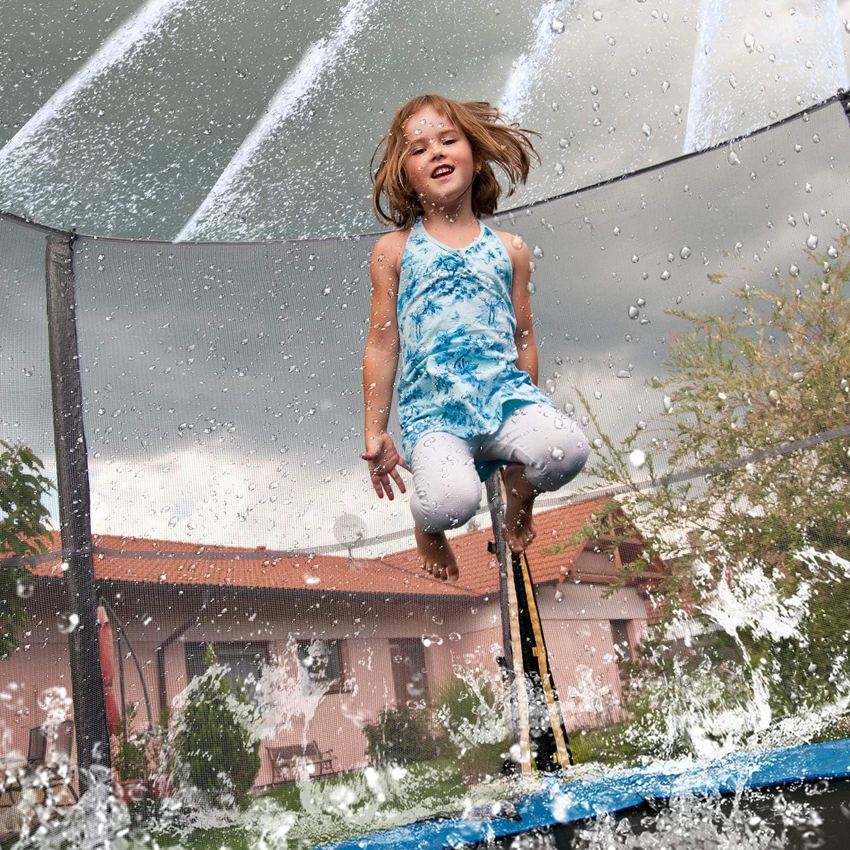 Whaline 50Ft Trampoline Sprinkler Trampoline Spray Hose Outdoor Waterpark Toy Sprinkler with Balloons Fun Backyard Water Game Accessories for Boys Girls Kids