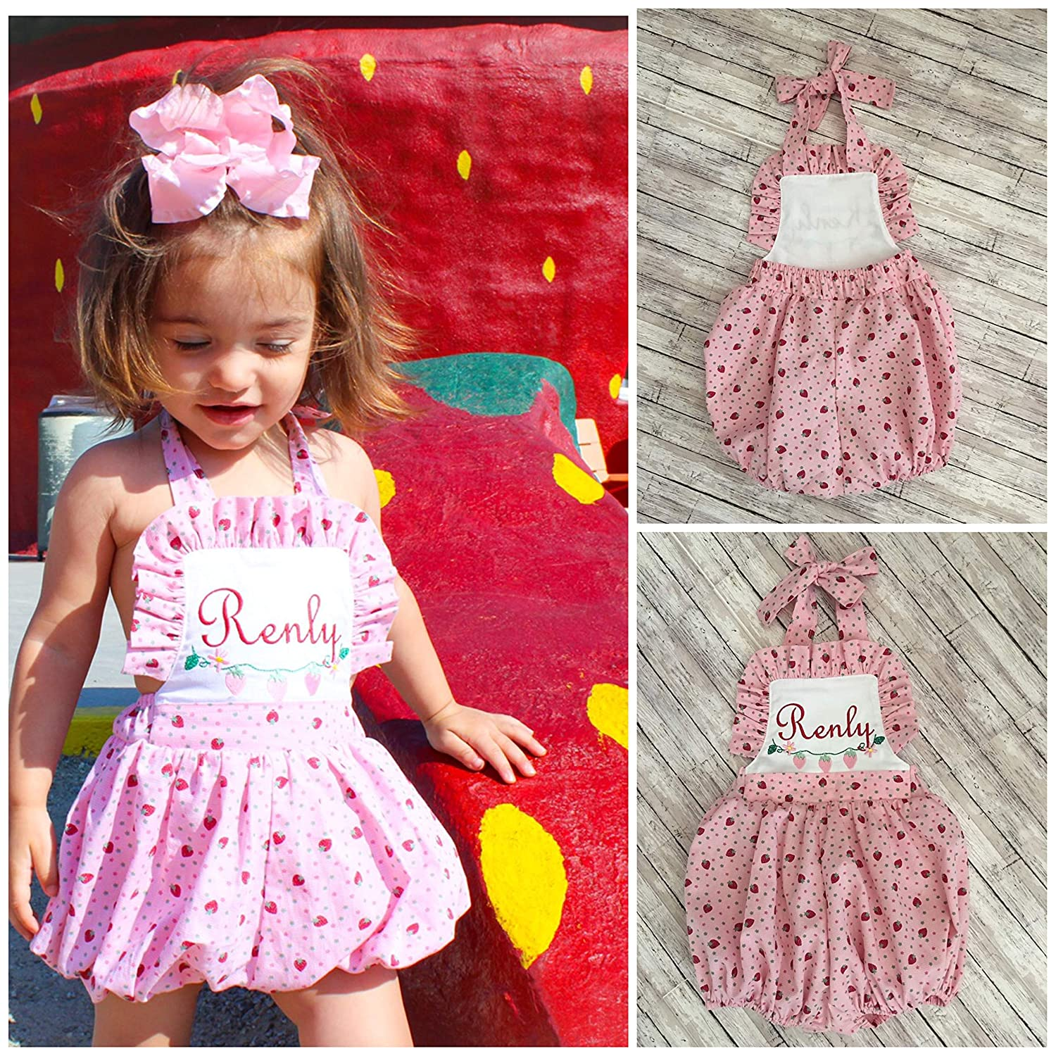 Amazon Com Little Girl Vintage Strawberry Bubble Personalized Toddler Romper Girls Monogram Vintage Sun Suit Handmade