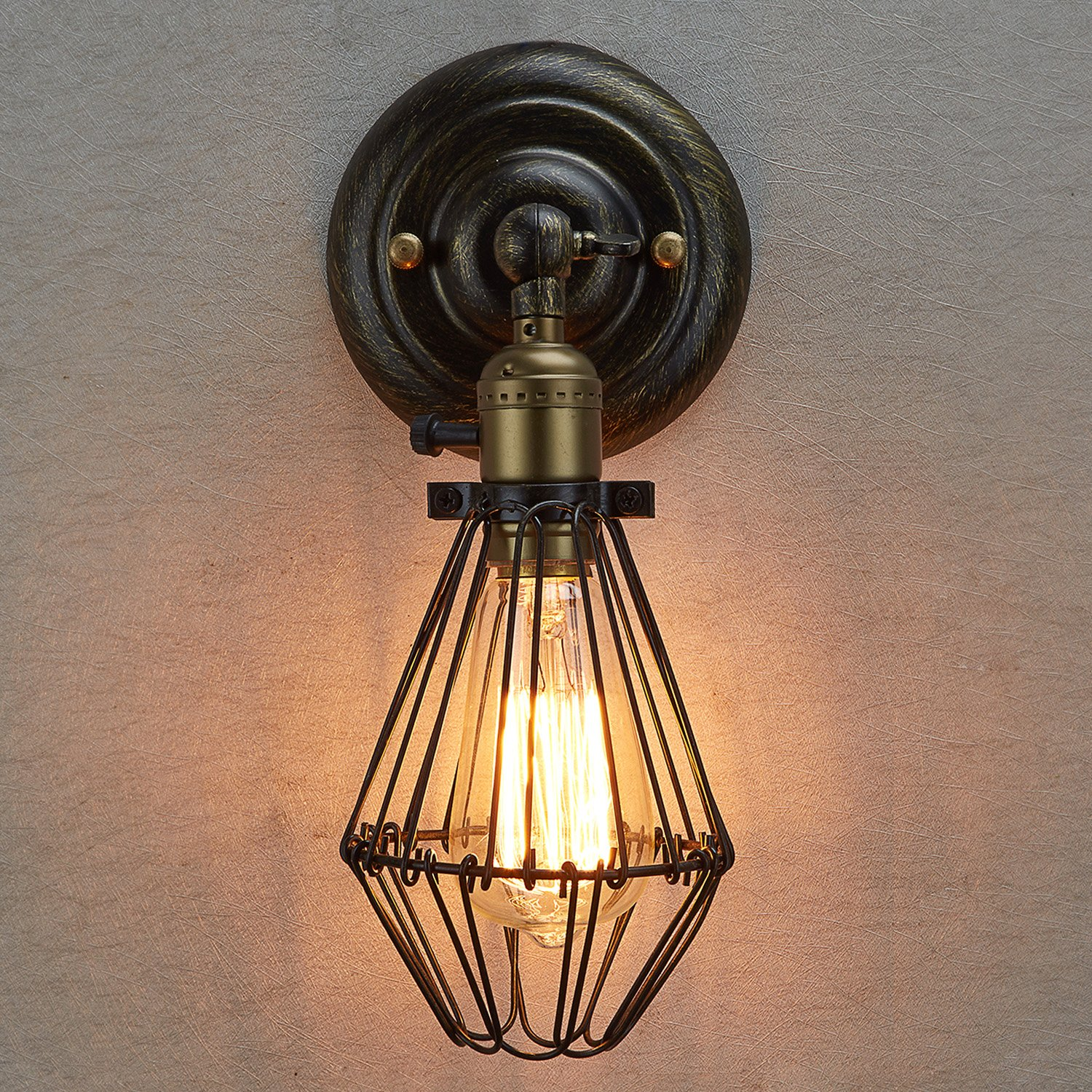 industrial cage lighting. LES® YOBO Lighting Industrial Edison Nostalgic Mini Wire Cage 1-light Wall Sconce: Amazon.co.uk: P