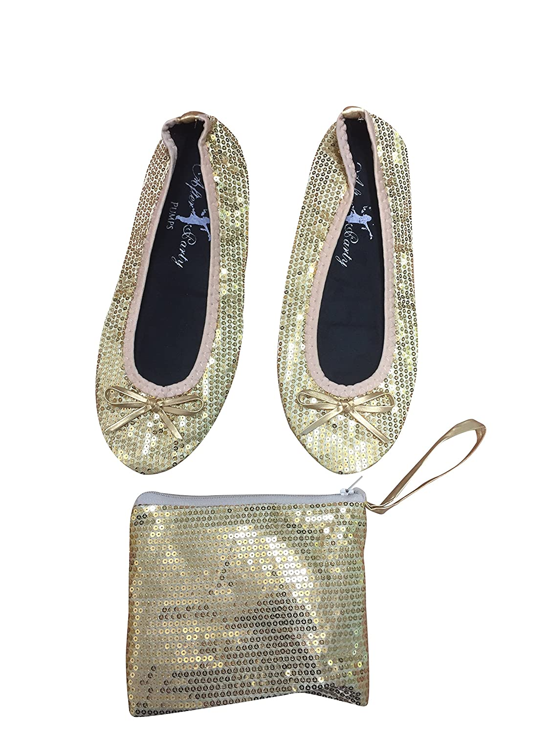 970ed0a60c46 After Party Pumps Ladies Roll up Shoes Fold up Pumps with Carrier Pouch 3  Ranges Original Animal Sequin  Amazon.co.uk  Shoes   Bags
