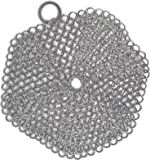 Two Arrows Stainless Steel Chainmail Scrubber is a Perfect Cast Iron Skillet Cleaner, This Chainmail Cast Iron Scrubber Will be a Life Saver! 6-Inch Round Cast Iron Scrubber (Pots not Included)