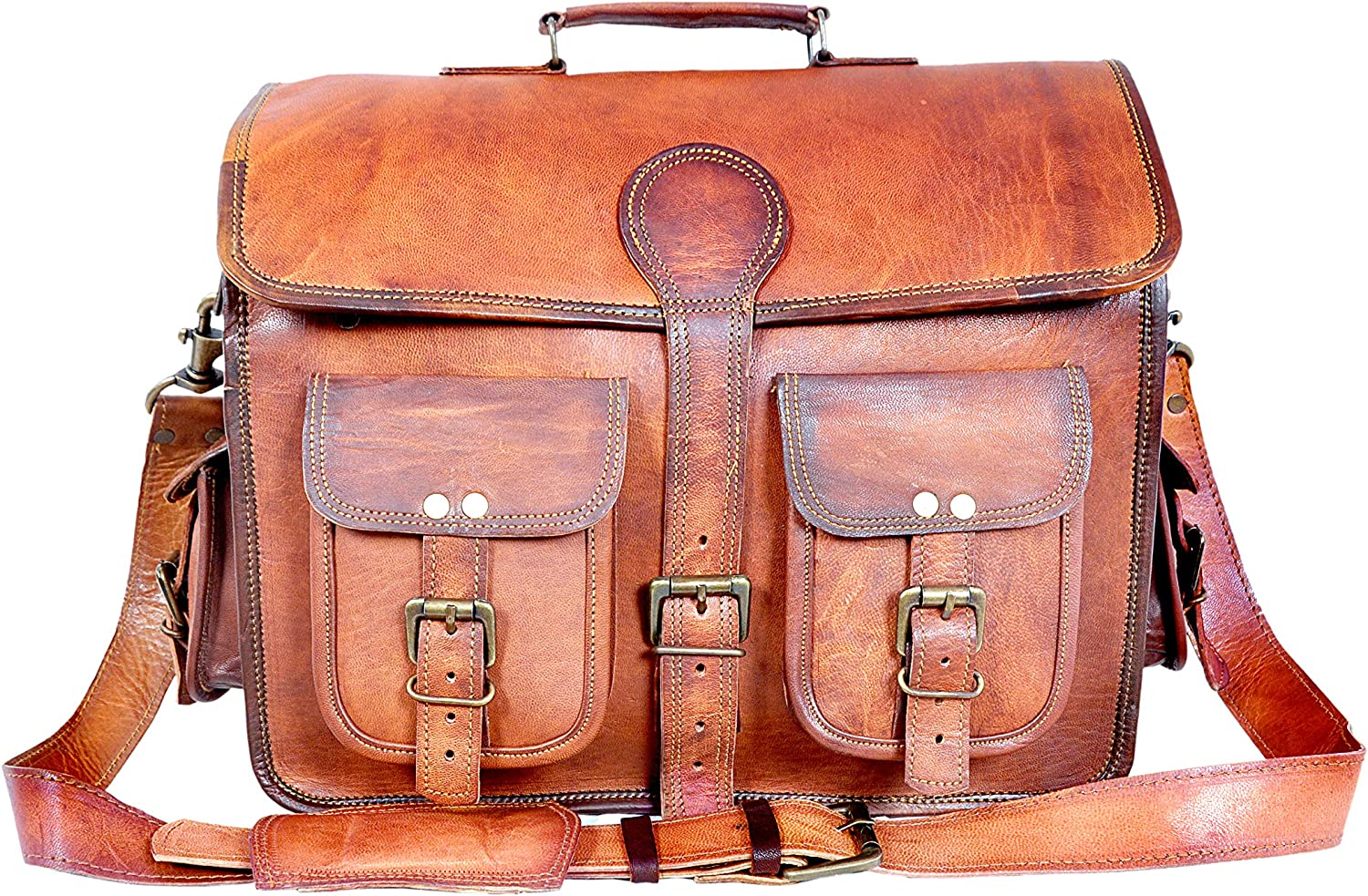 "Bagsifi 18"" Inch Vintage Genuine Handmade Rustic Goat Leather Messenger Briefcase Office Satchel Distressed Bag