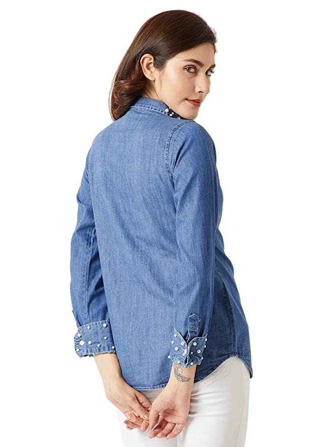 ab07d755e94 Miss Chase Women s Blue Pearl Denim Shirt  Amazon.in  Clothing   Accessories