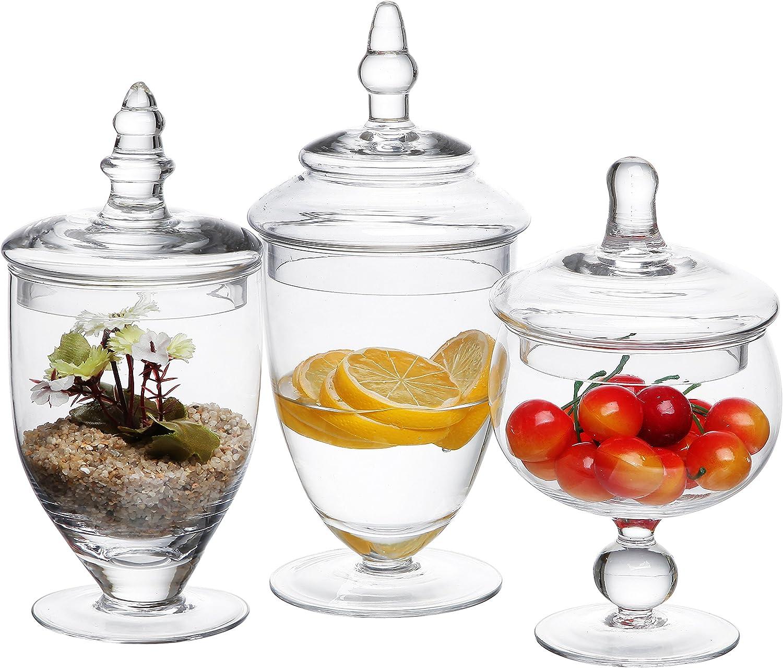 MyGift 3Piezas Troqueles con Forma tarros de Cristal Transparente Decorativo/Boda Centro de Mesa/Candy Botellas de Almacenamiento